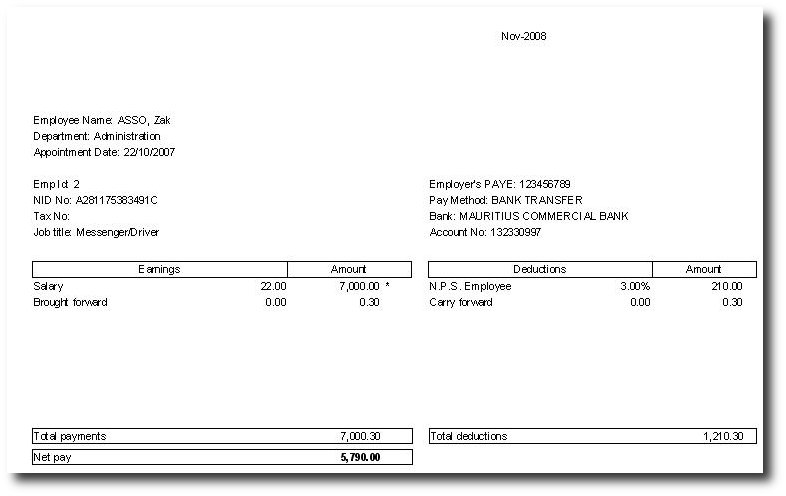 Doc529737 Payslip Sample Format Payslip Format Word and Excel – Sample of a Payslip
